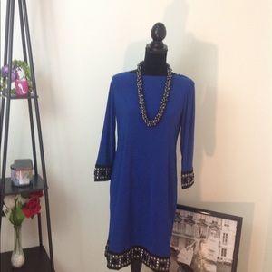 Tiana B Women Colbat Blue Blk Bead Trim Dress Sz-6